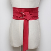 緞面腰封-寬版束腰綁帶純色女腰帶3色73vh49【巴黎精品】