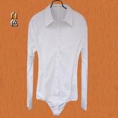 連體襯衫 長袖職業裝工裝白領女OL通勤面試工作服連體襯衫短袖連褲襯衣清倉