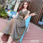夏裝新款禮服韓版氣質名媛V領無袖露肩收腰洋裝長裙女  朵拉朵衣櫥