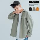 襯衫 寬鬆落肩雙口袋美式工裝襯衫【T92...