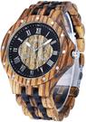 Bewell【日本代購】復古懷舊木錶 男性烏木腕錶-065A