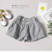 純棉 復古排釦黑白格紋花苞闊腿短褲 棉麻 寬鬆 舒適 清新 氣質 文青 端莊小可愛