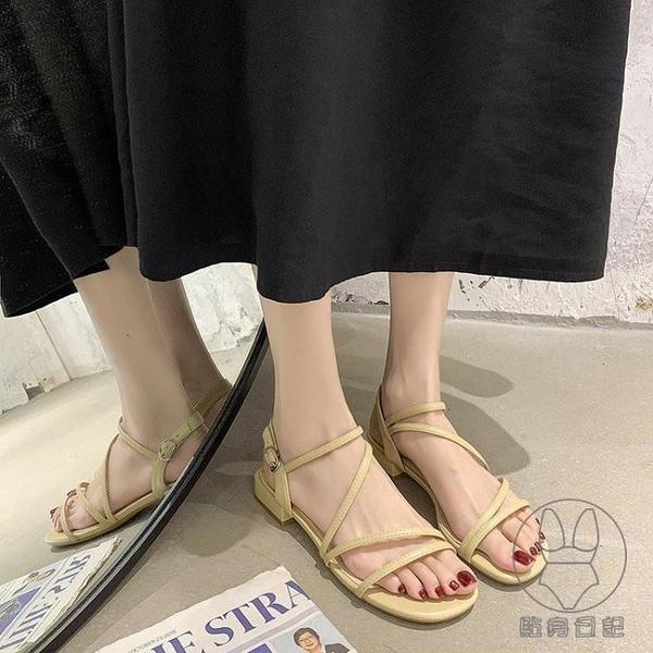 涼鞋女低粗跟仙女風配裙子夏季時尚一字帶時裝鞋潮【貼身日記】