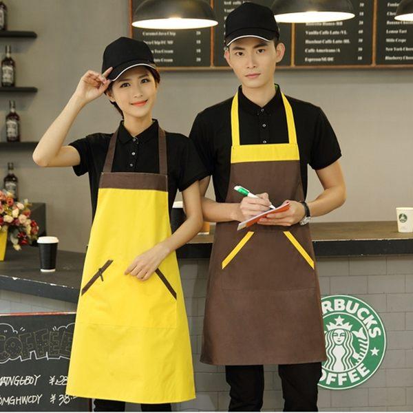 防水圍裙 新品時尚廣告圍裙咖啡店超市廚房防水圍裙廚師工服