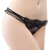 思薇爾-香頌之吻系列M-XL蕾絲低腰丁字褲(黑色)