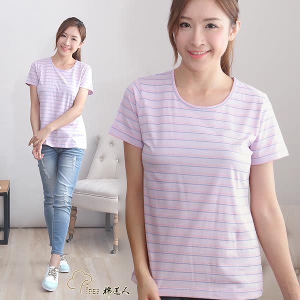 粉紫底粉條短袖