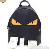 【凱盛國際名牌精品】全新真品FENDI BAG BUGS‧VVIP超限量全黑小牛皮黃眼鱷魚皮黑瞳孔 【大後背包】