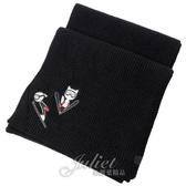 茱麗葉精品【全新現貨】KARL LAGERFELD 卡爾老佛爺 刺繡滑雪造型針織圍巾.黑