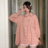 網紅同款粉色收腰格子襯衫女春秋裝網紅bf風寬松長袖襯衣女603DC252-C依佳衣