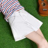 超短褲女 夏裝新款韓版寬鬆學生百搭高腰破洞白色a字牛仔熱褲     中秋節下殺