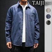 胸前單口袋直線條紋車線設計下擺圓弧剪裁長袖襯衫‧三色‧加大尺碼【NTJBCS816】-TAIJI-