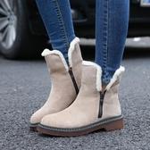 中筒靴女 雪靴 秋冬新款粗跟短靴女保暖雪地靴側拉鏈中筒雪地靴女鞋韓版女鞋子《小師妹》sm3300