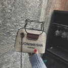港風包包2019女新款撞色字母貝殼包復古側背手提小包斜背錬條女包 交換禮物
