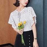 涼感上衣 短袖襯衫S-2XL夏季淑女法式蕾絲白色襯衫女設計感小眾襯衣雪紡衫上衣潮T614快時尚