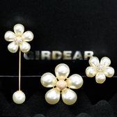 韓國珍珠一字針花針女士胸花開衫領胸針LY1539『愛尚生活館』