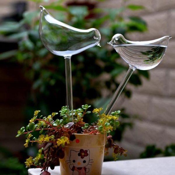 透明玻璃小鳥懶人澆花器創意裝飾盆栽花卉裝飾滲水自動澆花 QM『艾麗花園』
