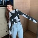 限時特價 NN娜娜~拼色奶牛豹紋長袖t恤女秋季顯瘦短款打底衫設計感港味上衣