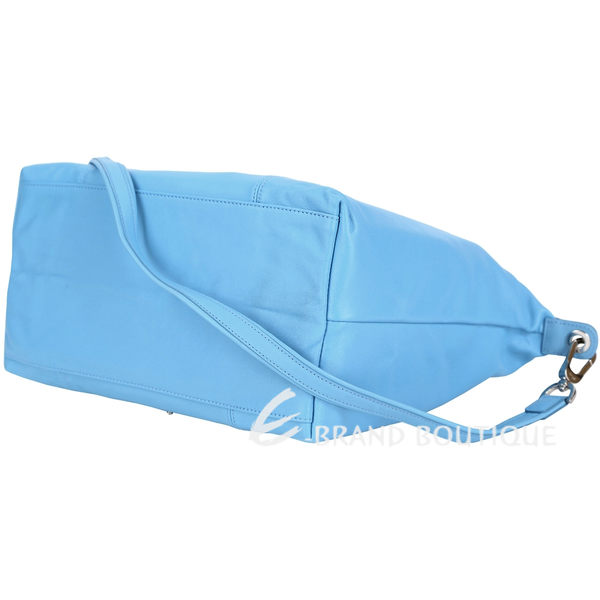 LONGCHAMP Le pliage Cuir 短把皮革摺疊兩用包(中/水藍色) 1340243-27