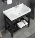【麗室衛浴】81CM陶瓷洗衣槽P- 301-6B +消光黑落地支架(鋁) 81*48*H81CM