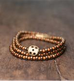 橄欖殻細珠多層手鏈民族風復古黃銅珠手串/設計家