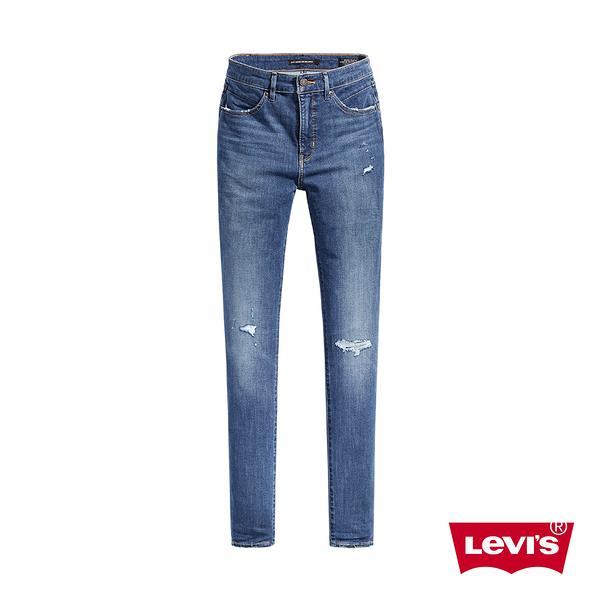 Levis 女款 Revel高腰緊身提臀牛仔褲 / 精工微磨損補丁細節 / 中藍刷白