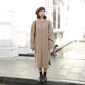 長袖洋裝-針織麻花加厚圓領連身裙2色73xm35[時尚巴黎]