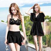泳衣女三件套小胸聚攏性感韓國遮肚顯瘦溫泉分體裙式小香風游泳衣      柠檬衣舍