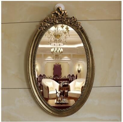 歐式浴室鏡壁掛臥室化妝鏡仿古衛生間鏡(8091拉絲金65*40)