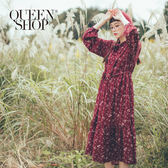 Queen Shop【01084778】滿版碎花領綁結雪紡洋裝附腰帶 兩色售*現+預*