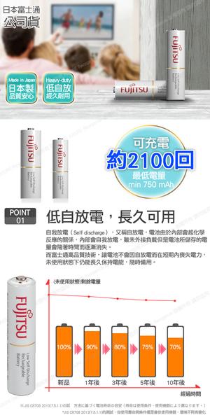日本製 Fujitsu富士通 4號AAA低自放電750mAh充電電池HR-4UTC (4號12入)+專用儲存盒*3
