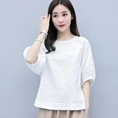 純棉中袖襯衫七分袖女士棉麻上衣女夏亞麻棉寬鬆T恤小衫白色短袖