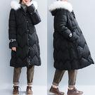 黑色大毛領連帽棉衣女 秋冬新款鬆緊高腰顯瘦加肥夾棉長袖中長大衣 低價促銷