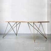 訂製北歐設計師實木辦公桌會議桌簡約現代鐵藝工作台原木餐桌椅組合YJT 暖心生活館