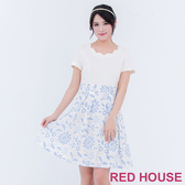 【RED HOUSE 蕾赫斯】花型領拼接蕾絲短袖洋裝(藍色)