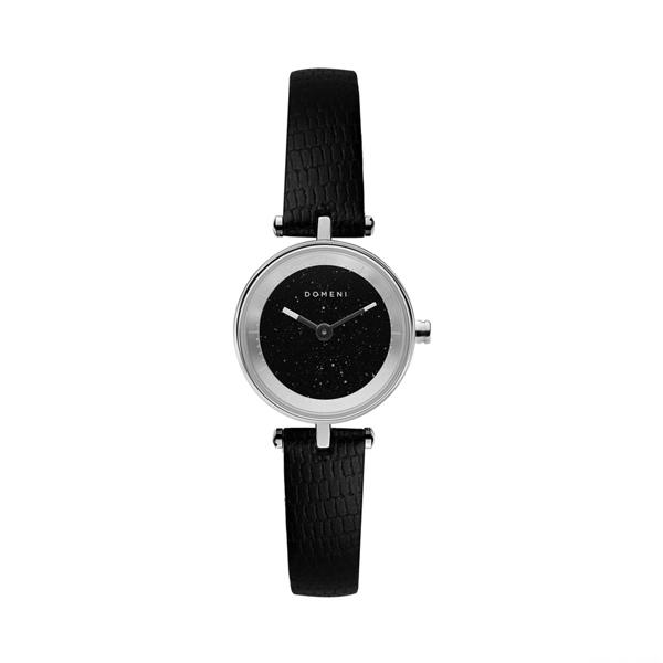 DOMENI COMPANY 義大利小牛皮星空黑腕錶-銀色(22mm/SLW01SD)