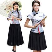 旗袍上衣女夏短袖中式唐裝中國風茶服漢服