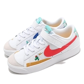 Nike 童鞋 Blazer Low 77 BP 白 藍 紅 彩色 塗鴉 童鞋 中童鞋 小朋友 魔鬼氈【ACS】 DJ5203-164