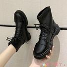 馬丁靴 帥氣英倫風馬丁靴女秋冬2021新款厚底短靴軟皮系帶彈力瘦瘦靴 愛丫 新品