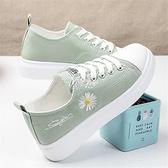 網紅小雛菊帆布鞋女學生韓版夏季透氣板鞋百搭小碼平底運動鞋春季