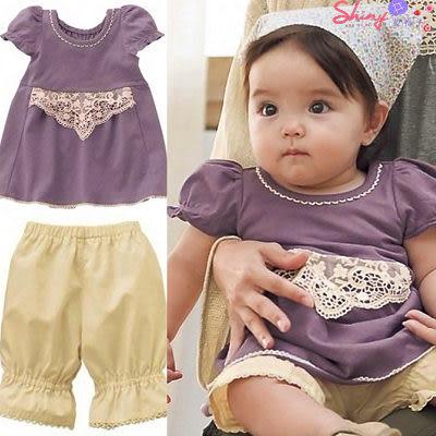 【DP370】shiny藍格子-0~4歲女童寶寶二式紫色套裝