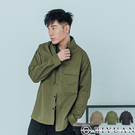 【OBIYUAN】長袖襯衫 工裝 翻蓋口袋 素面 軍風 襯衫外套 共3色【X6938】