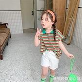 女童套裝2021夏季新款兒童條紋中性裝翻領POLO衫短袖T恤短褲 快速出貨