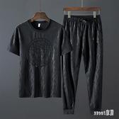 休閒套裝短袖t恤男夏季衣服潮流男裝運動兩件套寬鬆加肥大碼胖子 LR19314【Sweet家居】
