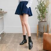 OB嚴選《CA980-》質感素色腰圍鬆緊傘襬剪裁寬鬆牛仔短褲--適 S~L