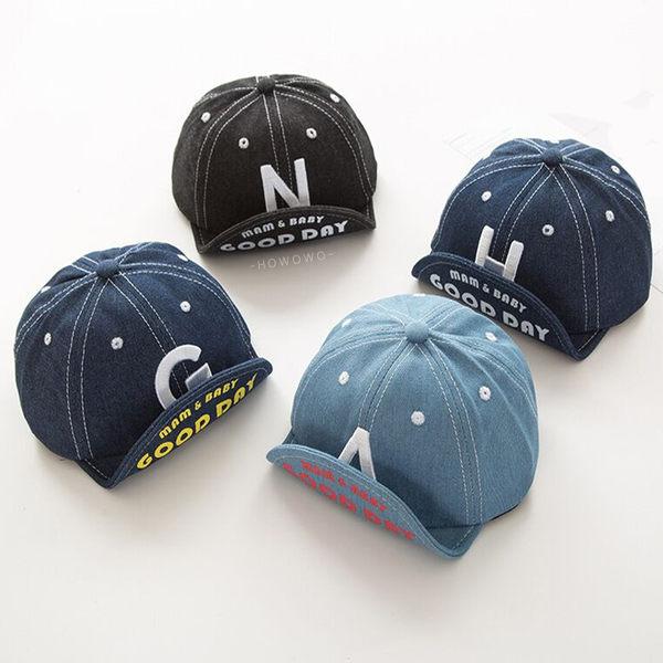 嬰幼兒棒球帽 英文字母 丹寧牛仔帽 鴨舌帽 遮陽帽 防曬 翻邊帽 DL23825 好娃娃