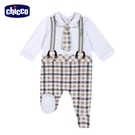 chicco- 皇家小象-假兩件式格紋後開長袖兔裝