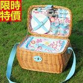 野餐籃 餐具組合-清新藍碎花雙人份郊遊用品68e35【時尚巴黎】