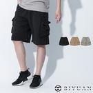 【OBIYUAN】工裝短褲 束繩口袋 鬆緊褲頭 工作短褲 共3色【Y0934】