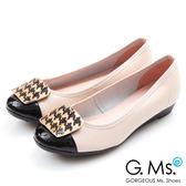 G.Ms.*MIT系列-牛皮拼接漆皮千鳥紋金飾小坡跟鞋*米白