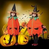 萬圣節兒童服裝 女孩女巫套裝 幼兒園表演披風南瓜服巫婆南瓜衣